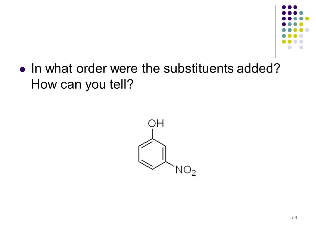 In what order were the substituents added? How can you tell? 54
