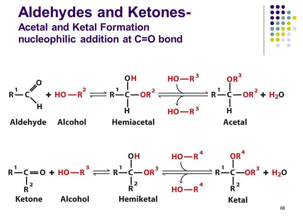 68 Aldehydes and Ketones- Acetal and Ketal Formation nucleophilic addition at C=O bond 68