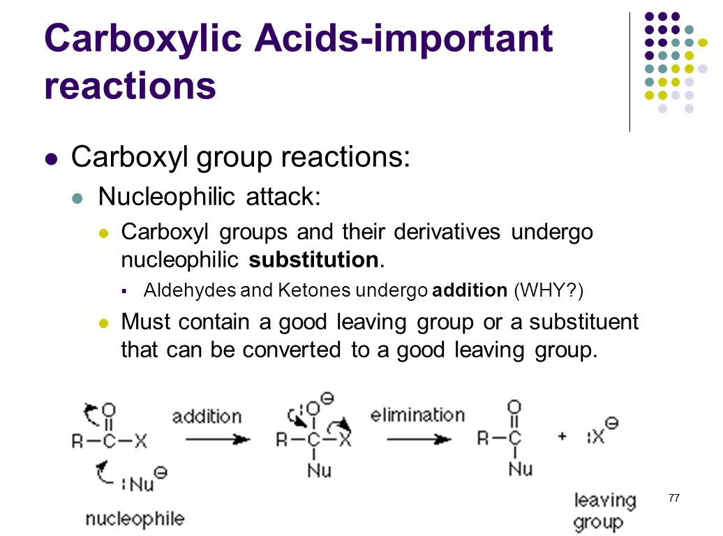 77 Carboxylic Acids-important reactions Carboxyl group reactions: Nucleophilic attack: Carboxyl groups and their derivatives undergo nucleophilic subs