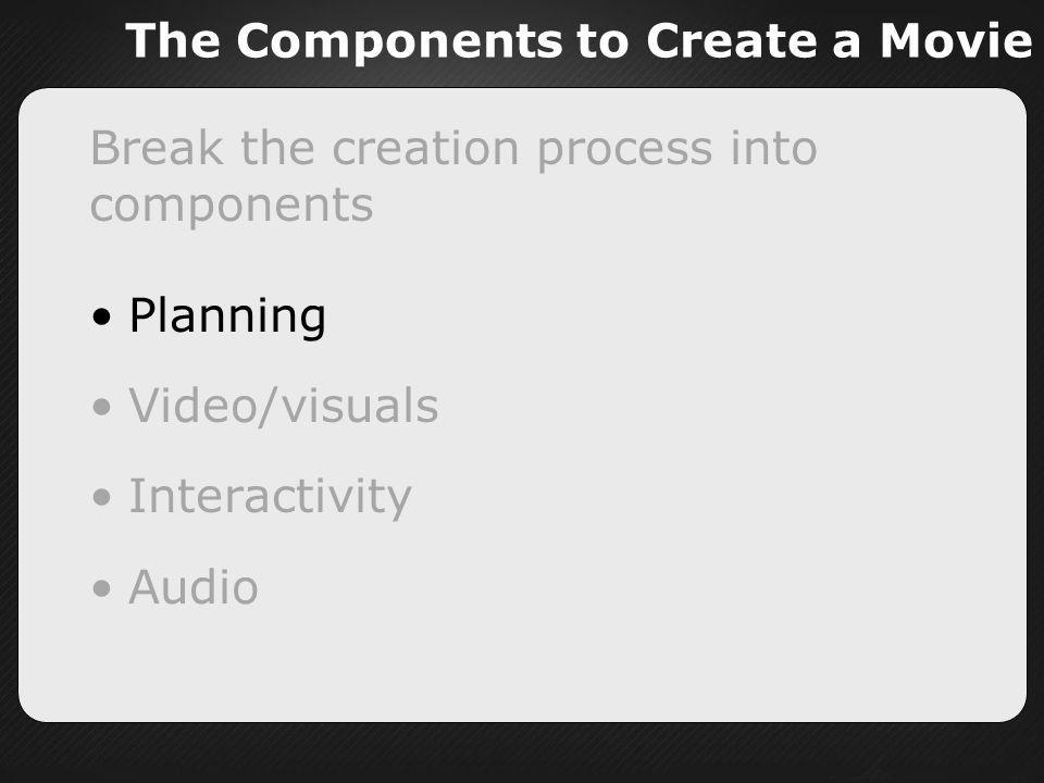 The Components to Create a Movie Break the creation process into components Planning Video/visuals Interactivity Audio