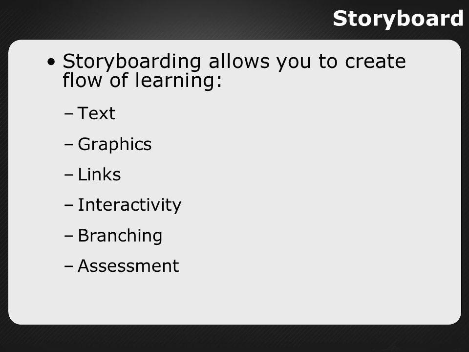 Storyboard Storyboarding allows you to create flow of learning: –Text –Graphics –Links –Interactivity –Branching –Assessment