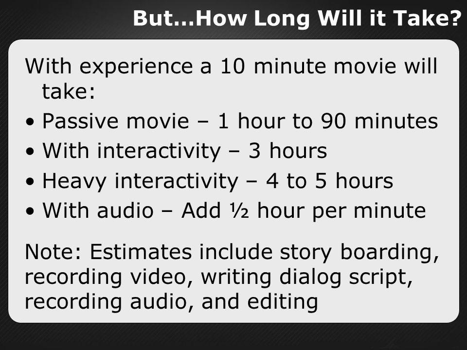 But…How Long Will it Take? With experience a 10 minute movie will take: Passive movie – 1 hour to 90 minutes With interactivity – 3 hours Heavy intera