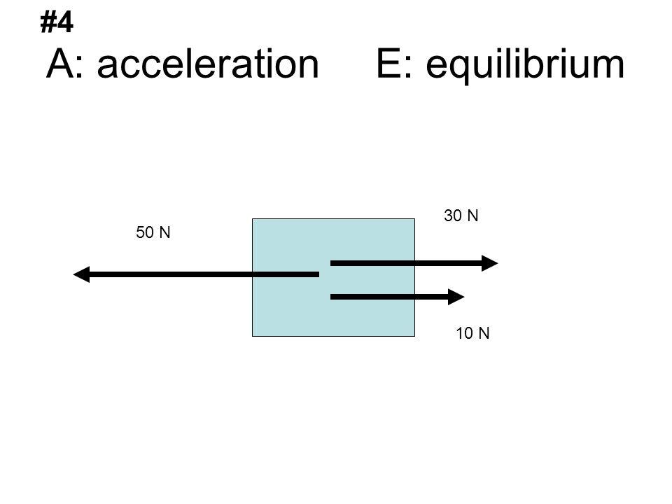 A: acceleration E: equilibrium 50 N 30 N 10 N #4