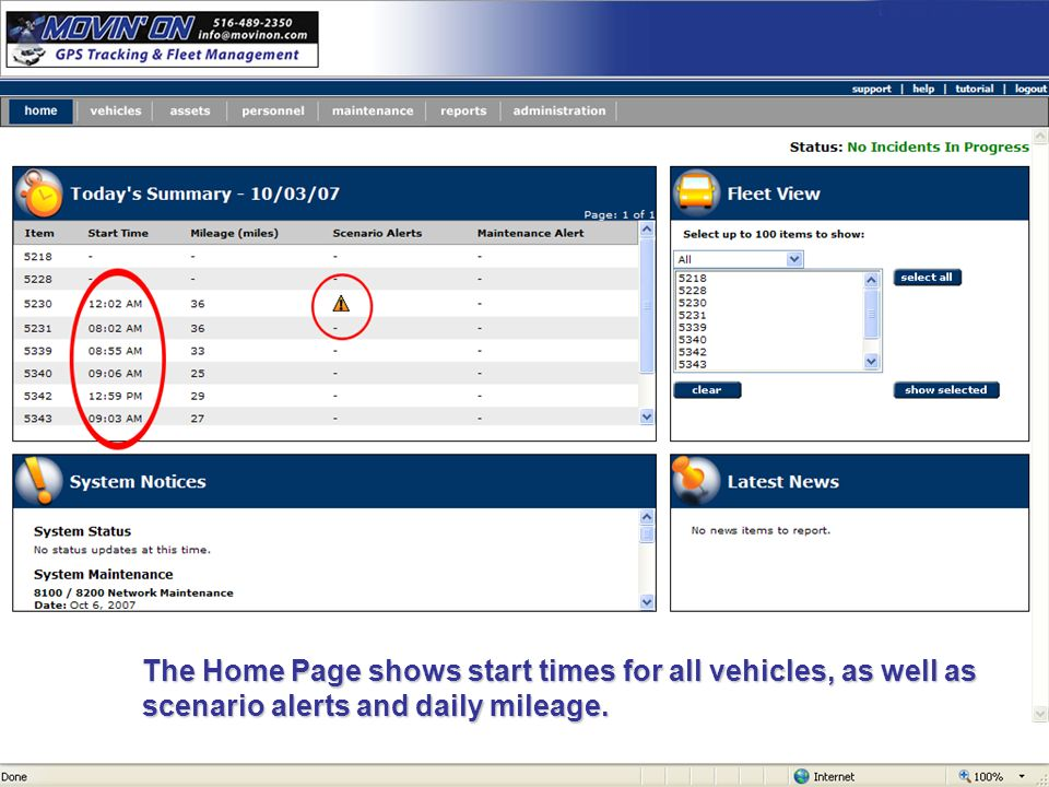 The Home Page shows start times for all vehicles, as well as scenario alerts and daily mileage.