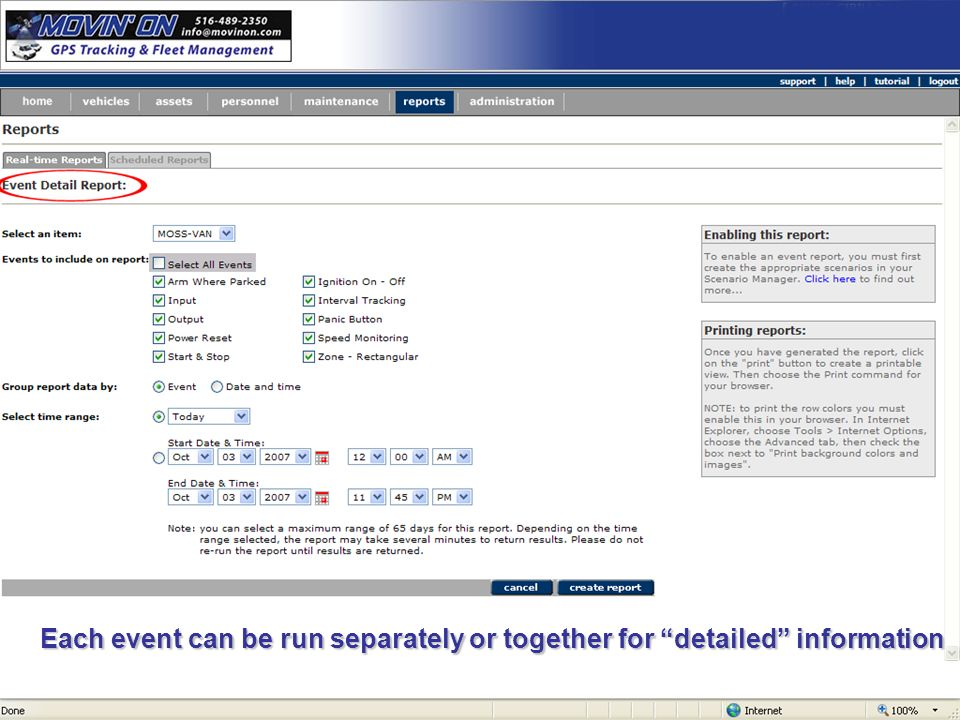 Each event can be run separately or together for detailed information