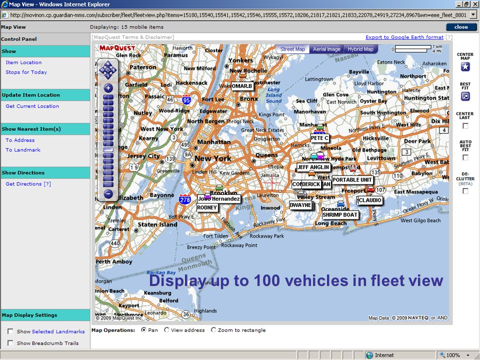 Display up to 100 vehicles in fleet view