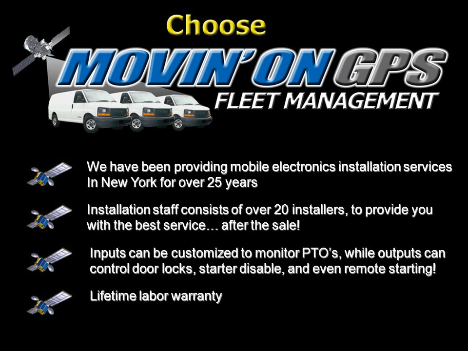 We have been providing mobile electronics installation services In New York for over 25 years Installation staff consists of over 20 installers, to provide you with the best service… after the sale.