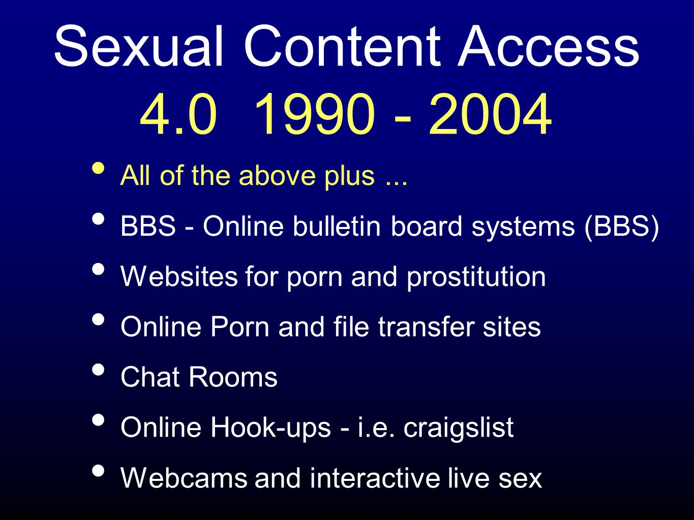 Sexual Content Access 5.0 2004 - Present All of the above plus...