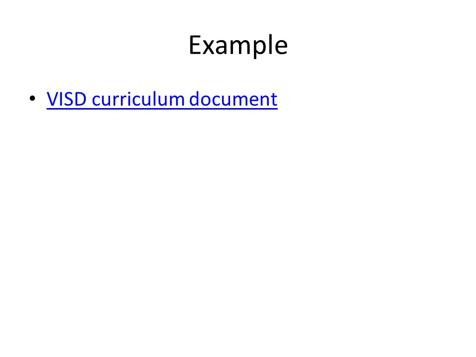 Example VISD curriculum document