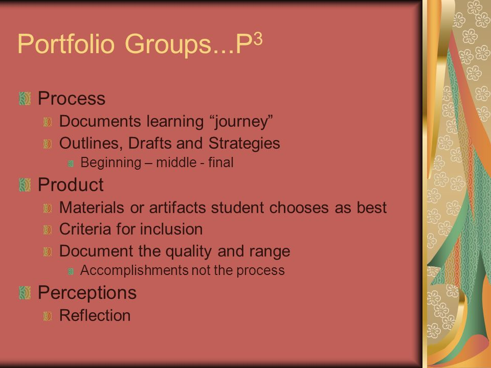 Portfolio Groups...P 3 Process Documents learning journey Outlines, Drafts and Strategies Beginning – middle - final Product Materials or artifacts st