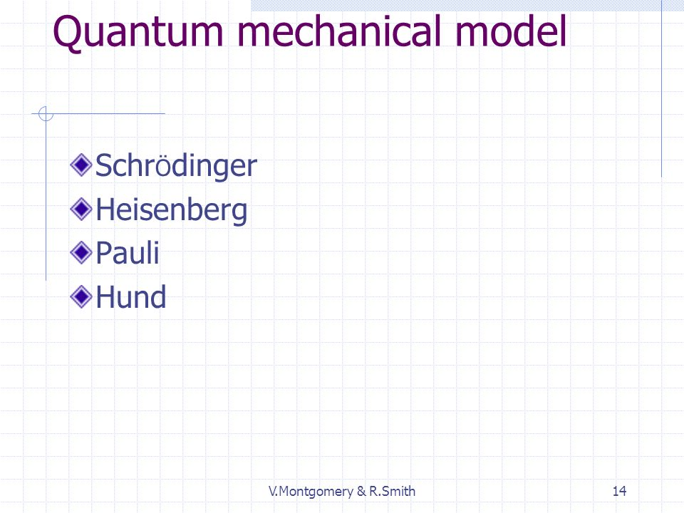 V.Montgomery & R.Smith14 Quantum mechanical model Schr Ö dinger Heisenberg Pauli Hund