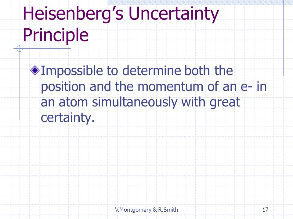 V.Montgomery & R.Smith17 Heisenbergs Uncertainty Principle Impossible to determine both the position and the momentum of an e- in an atom simultaneously with great certainty.