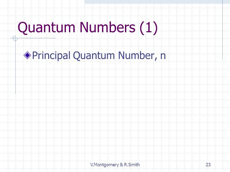 V.Montgomery & R.Smith23 Quantum Numbers (1) Principal Quantum Number, n