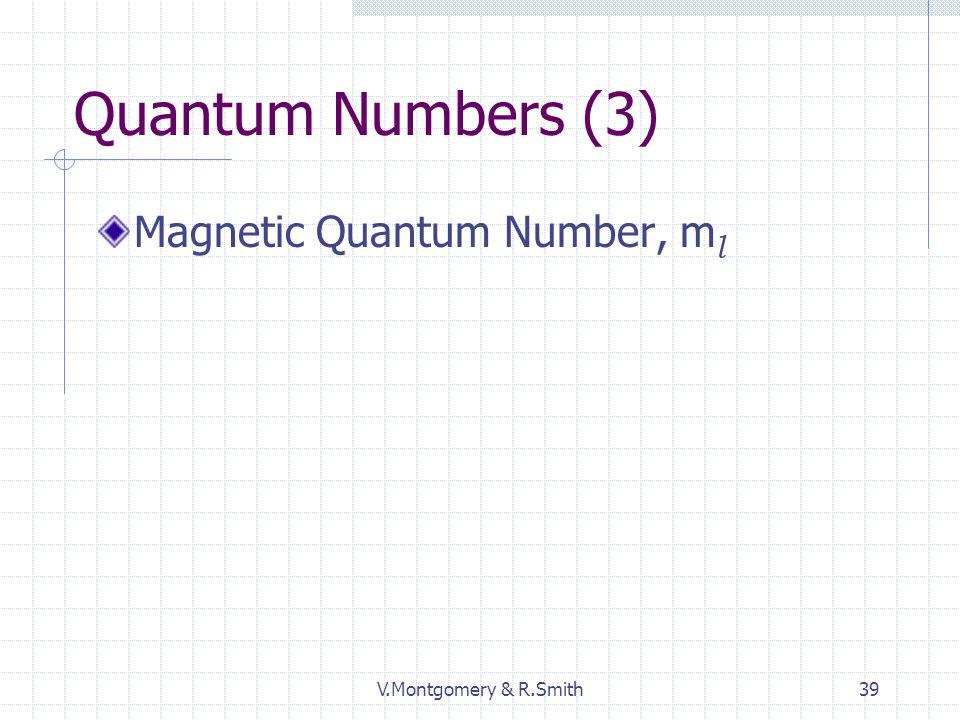 V.Montgomery & R.Smith39 Quantum Numbers (3) Magnetic Quantum Number, m l