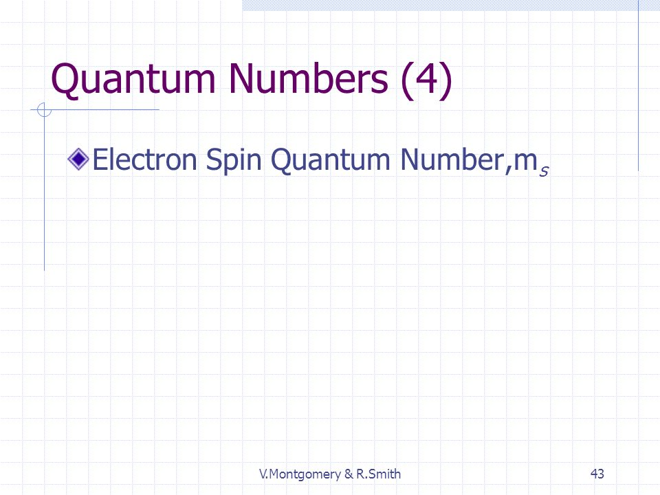 V.Montgomery & R.Smith43 Quantum Numbers (4) Electron Spin Quantum Number,m s