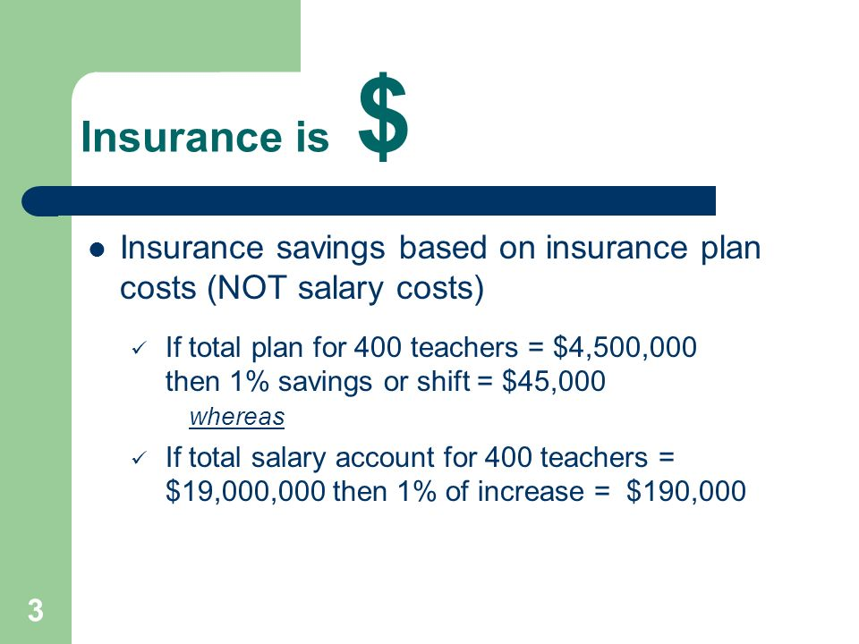 3 Insurance is $ Insurance savings based on insurance plan costs (NOT salary costs) If total plan for 400 teachers = $4,500,000 then 1% savings or shi
