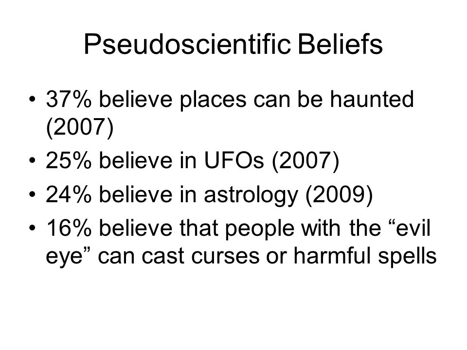Pseudoscientific Beliefs 37% believe places can be haunted (2007) 25% believe in UFOs (2007) 24% believe in astrology (2009) 16% believe that people w