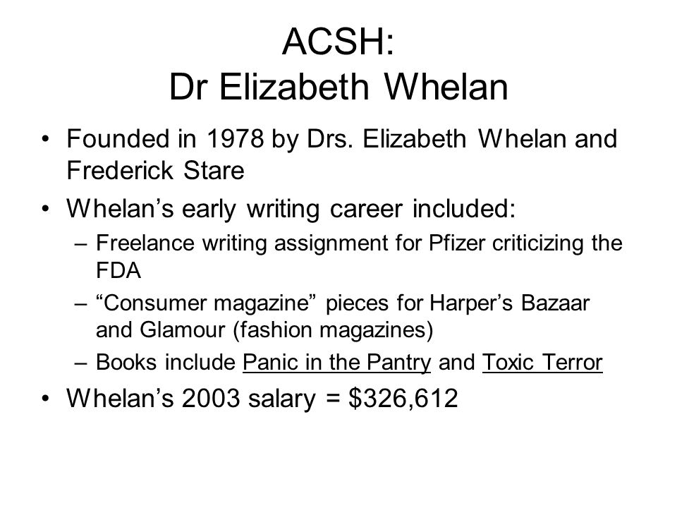 ACSH: Dr Elizabeth Whelan Founded in 1978 by Drs. Elizabeth Whelan and Frederick Stare Whelans early writing career included: –Freelance writing assig