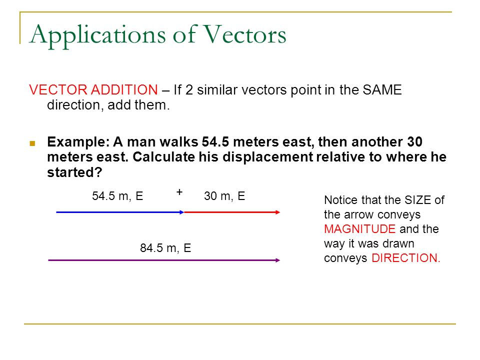 Applications of Vectors VECTOR ADDITION – If 2 similar vectors point in the SAME direction, add them. Example: A man walks 54.5 meters east, then anot