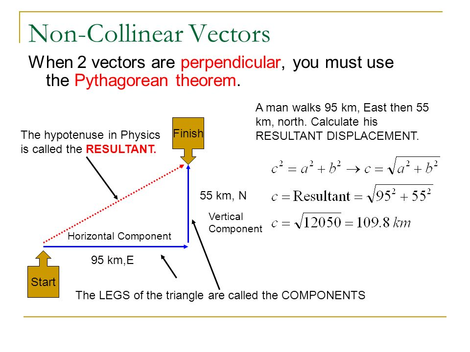 Non-Collinear Vectors When 2 vectors are perpendicular, you must use the Pythagorean theorem. 95 km,E 55 km, N Start Finish A man walks 95 km, East th