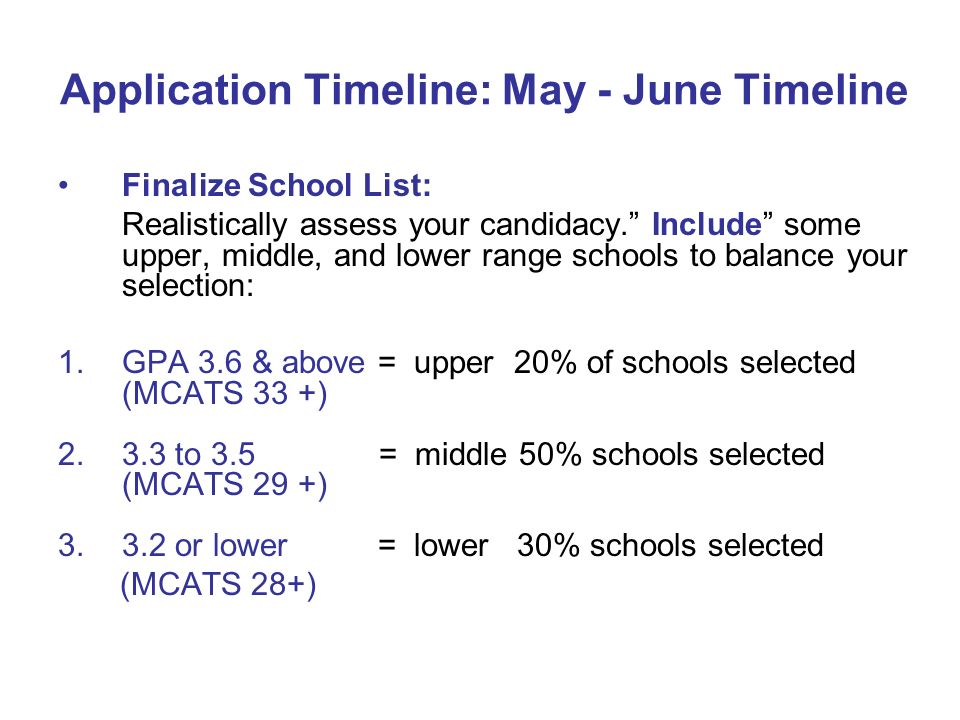 Application Timeline: May - June Timeline Finalize School List: Realistically assess your candidacy. Include some upper, middle, and lower range schoo