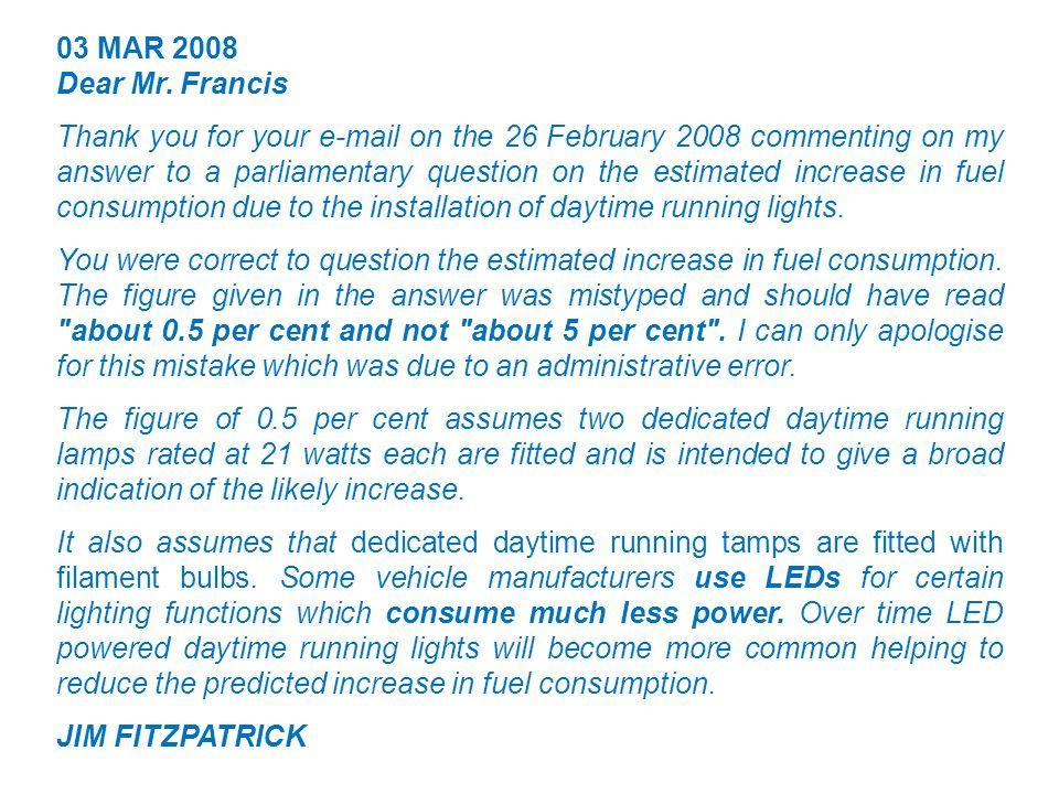 03 MAR 2008 Dear Mr.