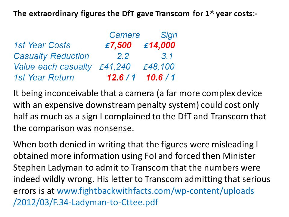 The extraordinary figures the DfT gave Transcom for 1 st year costs:- Camera Sign 1st Year Costs £ 7,500 £ 14,000 Casualty Reduction 2.2 3.1 Value each casualty £ 41,240 £ 48,100 1st Year Return 12.6 / 1 10.6 / 1 It being inconceivable that a camera (a far more complex device with an expensive downstream penalty system) could cost only half as much as a sign I complained to the DfT and Transcom that the comparison was nonsense.