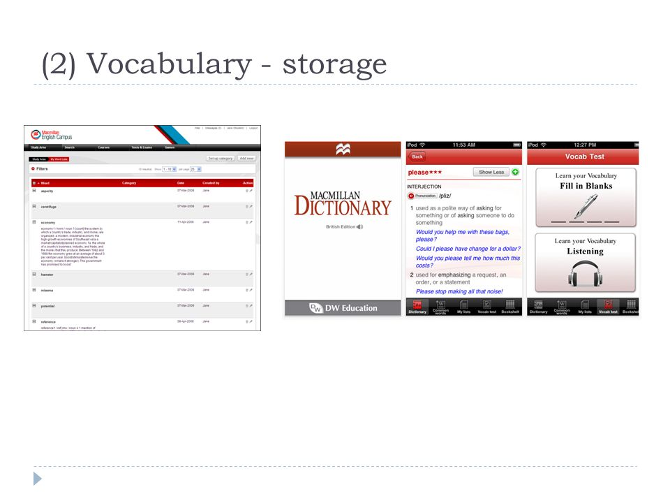 (2) Vocabulary - storage