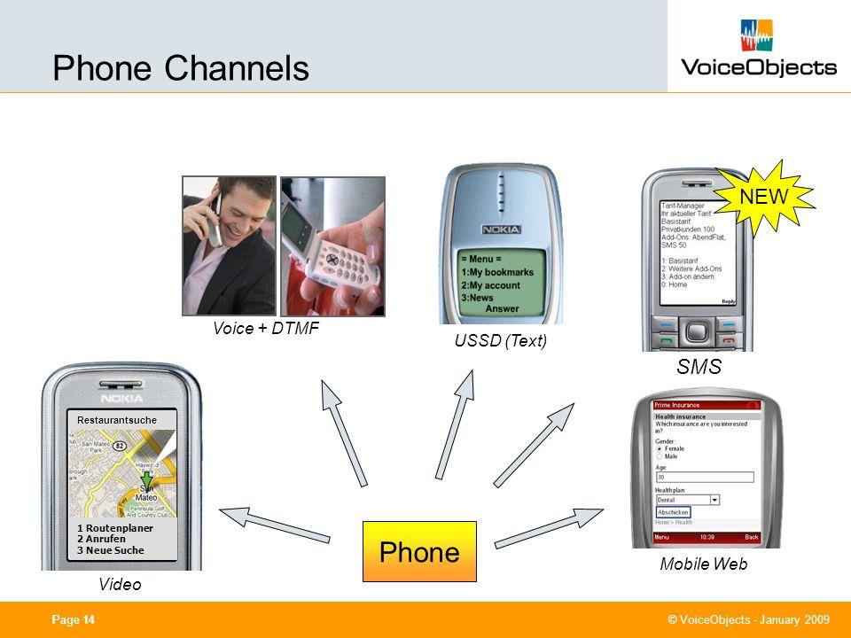 0cm (center) 7,40 cm 11,40 cm 4,80 cm 10,50 cm © VoiceObjects - January 2009 Page 14 Mobile Web Video Restaurantsuche 1 Routenplaner 2 Anrufen 3 Neue Suche Voice + DTMF USSD (Text) Phone NEW SMS Phone Channels