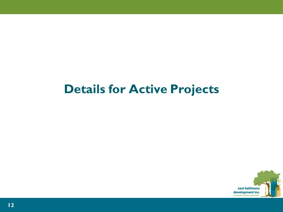 Details for Active Projects 12