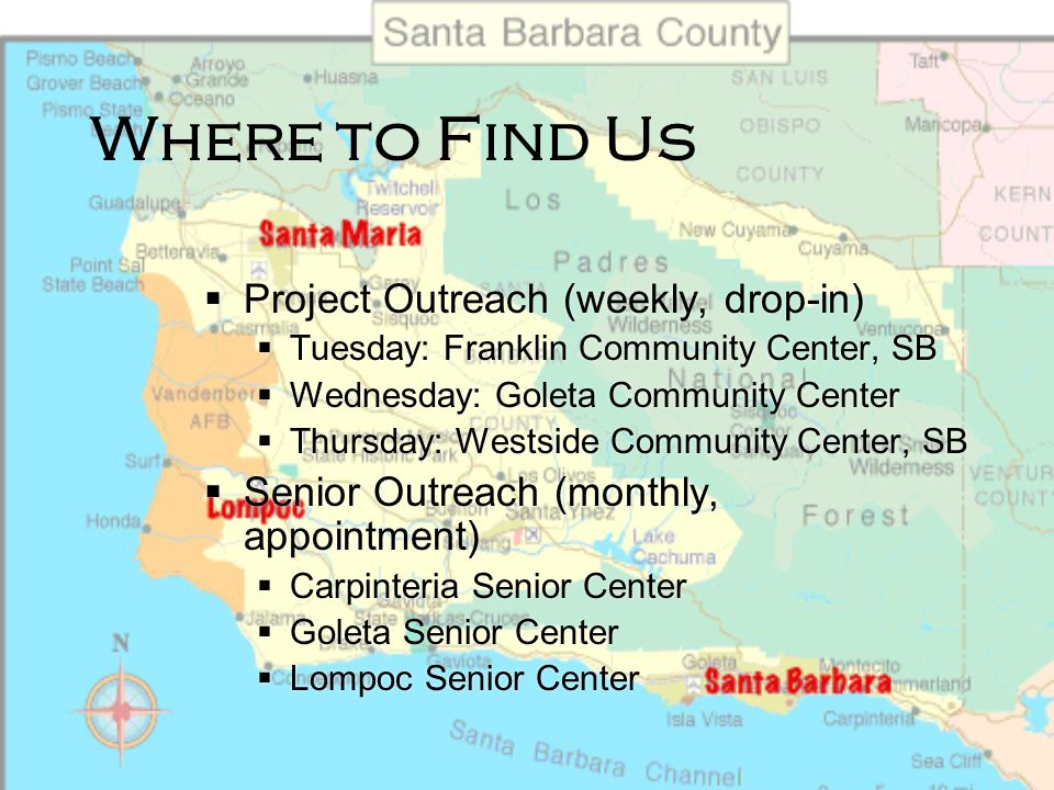 Where to Find Us Legal Resource Centers Santa Barbara Courthouse McMahon Law Library 1100 Anapamu St. Santa Maria Courthouse Santa Maria Law Library 3