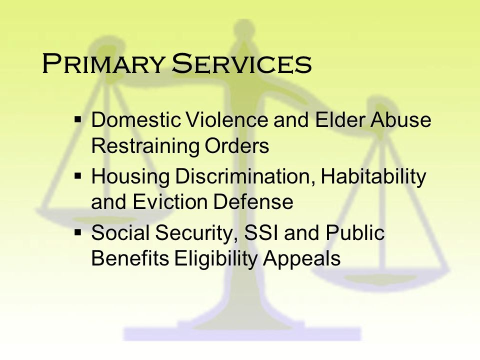 Our Mission Our Mission is to ensure that low- income people and seniors have access to the civil justice system - to secure safe shelter, adequate in
