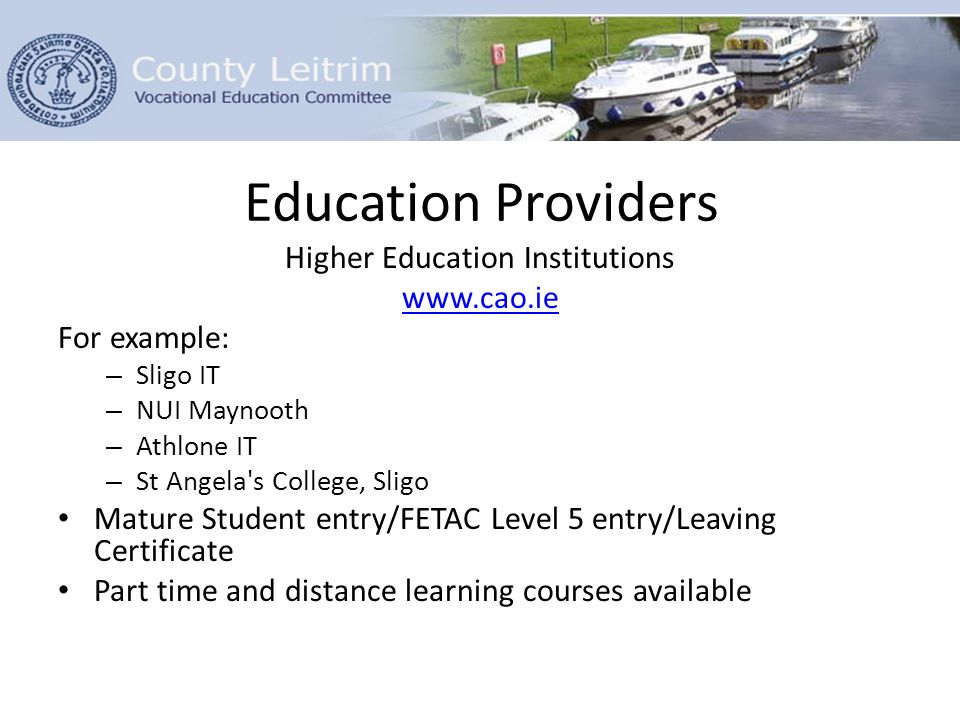 Education Providers Higher Education Institutions www.cao.ie For example: – Sligo IT – NUI Maynooth – Athlone IT – St Angela s College, Sligo Mature Student entry/FETAC Level 5 entry/Leaving Certificate Part time and distance learning courses available