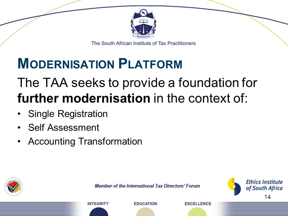 M ODERNISATION P LATFORM The TAA seeks to provide a foundation for further modernisation in the context of: Single Registration Self Assessment Accoun