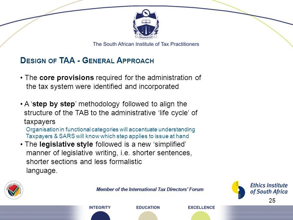 25 D ESIGN OF TAA - G ENERAL A PPROACH The core provisions required for the administration of the tax system were identified and incorporated A step b