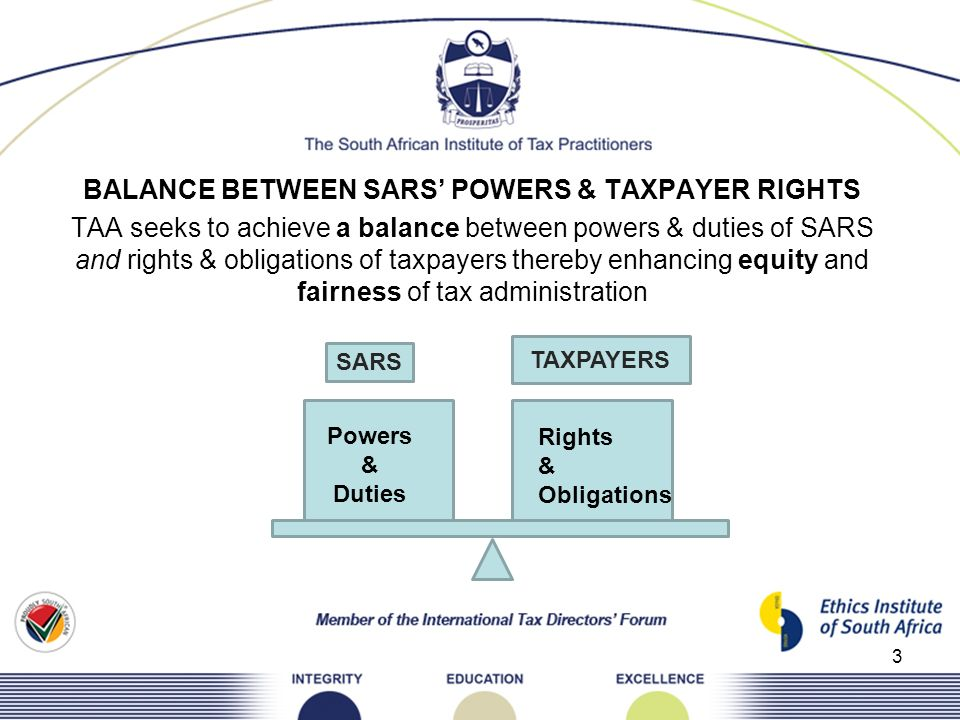 3 BALANCE BETWEEN SARS POWERS & TAXPAYER RIGHTS TAA seeks to achieve a balance between powers & duties of SARS and rights & obligations of taxpayers t