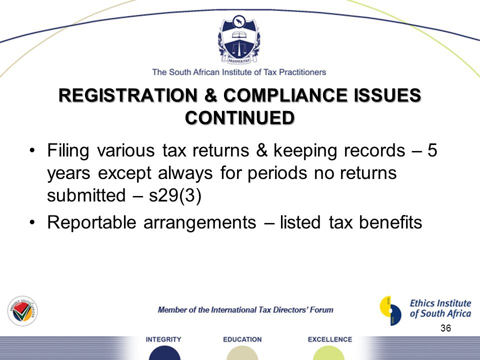 REGISTRATION & COMPLIANCE ISSUES CONTINUED Filing various tax returns & keeping records – 5 years except always for periods no returns submitted – s29