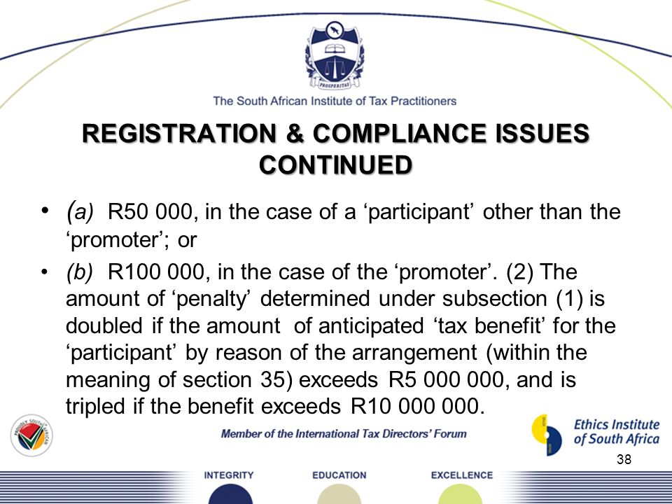 REGISTRATION & COMPLIANCE ISSUES CONTINUED ( a)R50 000, in the case of a participant other than thepromoter; or (b)R100 000, in the case of the promot