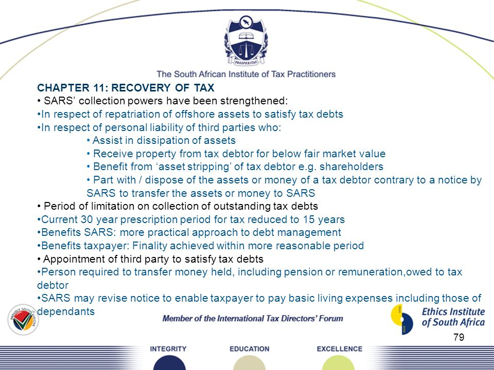 79 CHAPTER 11: RECOVERY OF TAX SARS collection powers have been strengthened: In respect of repatriation of offshore assets to satisfy tax debts In re