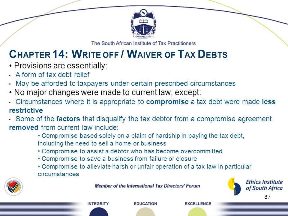 87 C HAPTER 14: W RITE OFF / W AIVER OF T AX D EBTS Provisions are essentially: A form of tax debt relief May be afforded to taxpayers under certain p