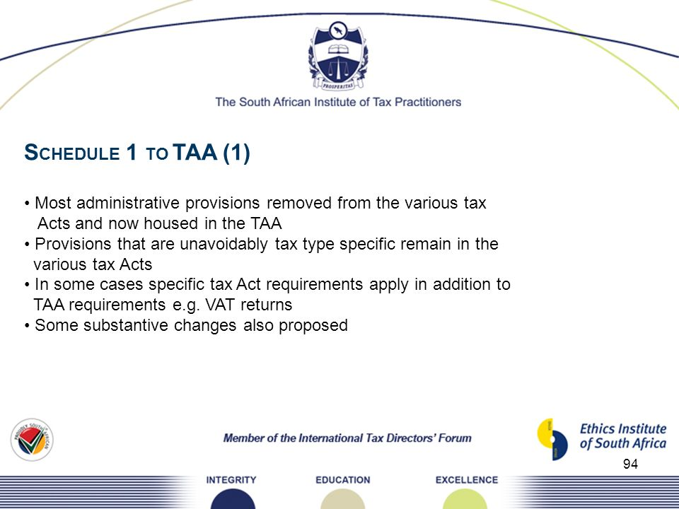 94 S CHEDULE 1 TO TAA (1) Most administrative provisions removed from the various tax Acts and now housed in the TAA Provisions that are unavoidably t