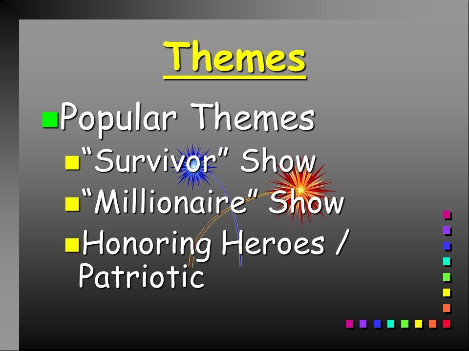 Themes n Popular Themes n Survivor Show n Millionaire Show n Honoring Heroes / Patriotic