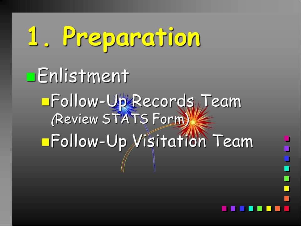 1. Preparation n Enlistment n Follow-Up Records Team (Review STATS Form) n Follow-Up Visitation Team
