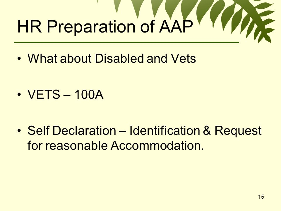 15 HR Preparation of AAP What about Disabled and Vets VETS – 100A Self Declaration – Identification & Request for reasonable Accommodation.