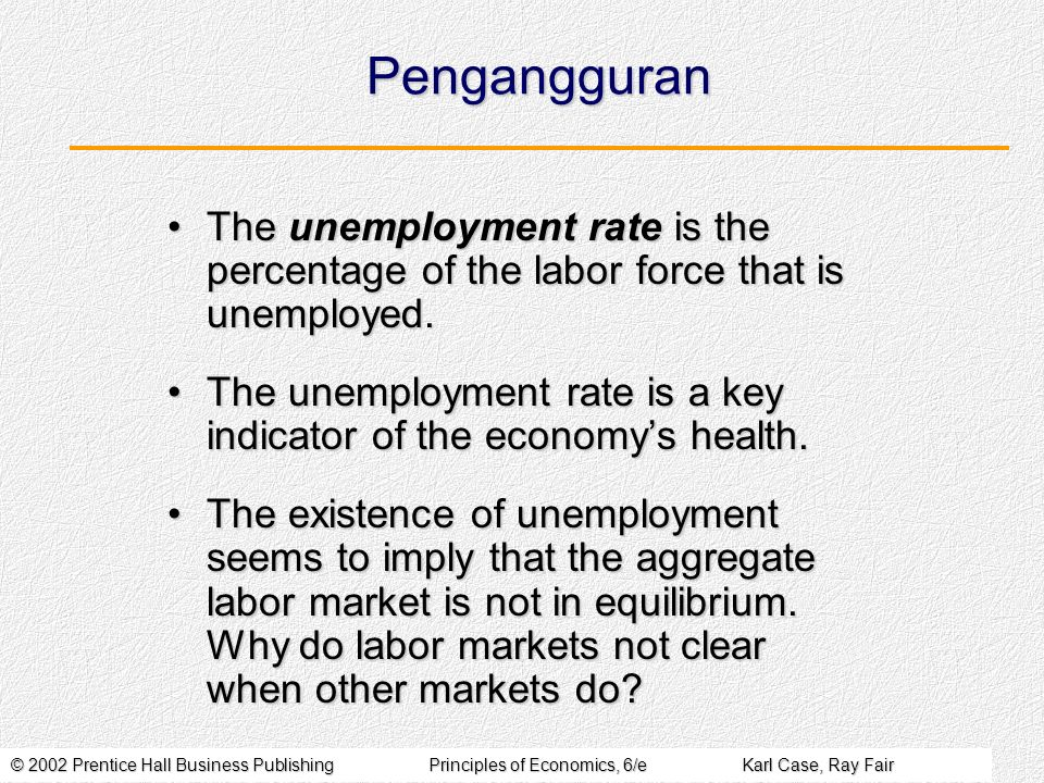 © 2002 Prentice Hall Business PublishingPrinciples of Economics, 6/eKarl Case, Ray Fair Pengangguran The unemployment rate is the percentage of the labor force that is unemployed.The unemployment rate is the percentage of the labor force that is unemployed.