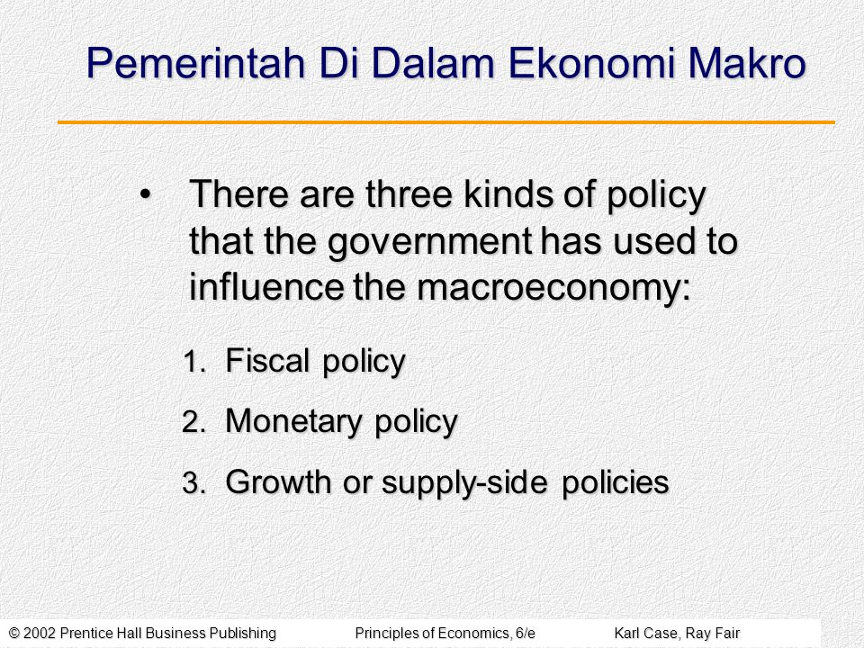 © 2002 Prentice Hall Business PublishingPrinciples of Economics, 6/eKarl Case, Ray Fair Pemerintah Di Dalam Ekonomi Makro There are three kinds of policy that the government has used to influence the macroeconomy:There are three kinds of policy that the government has used to influence the macroeconomy: 1.
