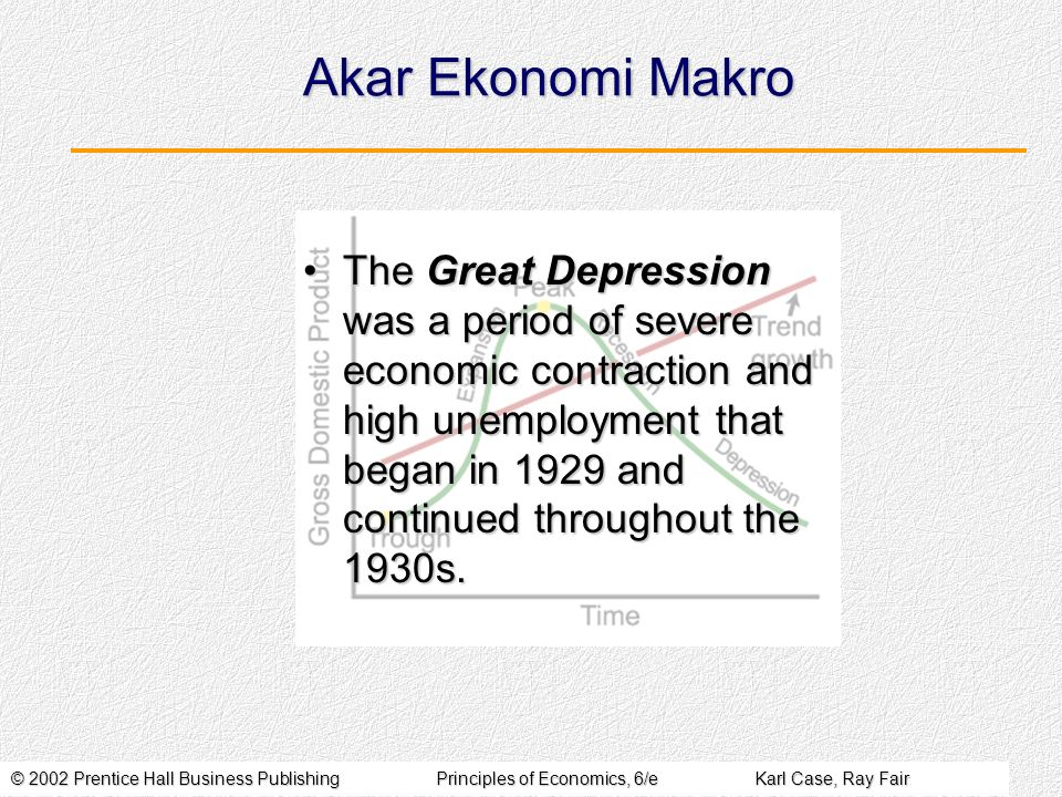 © 2002 Prentice Hall Business PublishingPrinciples of Economics, 6/eKarl Case, Ray Fair Akar Ekonomi Makro The Great Depression was a period of severe economic contraction and high unemployment that began in 1929 and continued throughout the 1930s.The Great Depression was a period of severe economic contraction and high unemployment that began in 1929 and continued throughout the 1930s.