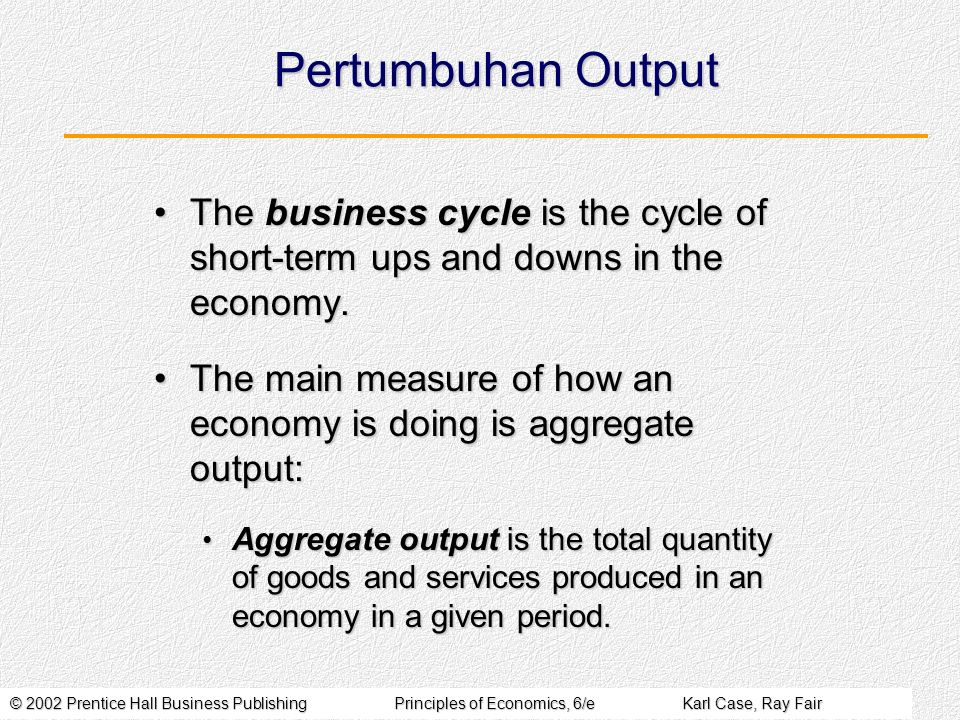 © 2002 Prentice Hall Business PublishingPrinciples of Economics, 6/eKarl Case, Ray Fair Pertumbuhan Output The business cycle is the cycle of short-term ups and downs in the economy.The business cycle is the cycle of short-term ups and downs in the economy.