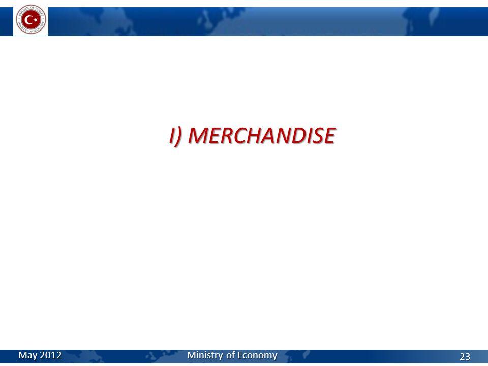 I) MERCHANDISE May 2012 Ministry of Economy 23