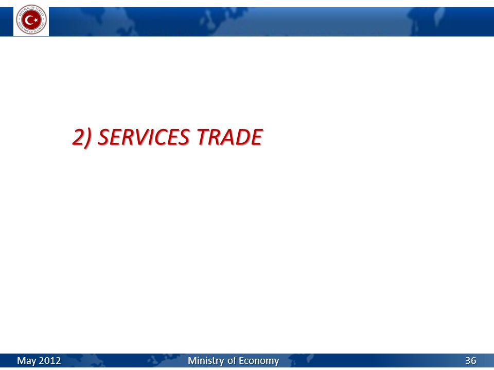 2) SERVICES TRADE May 2012 Ministry of Economy 36